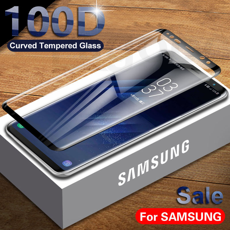 100D Full Curved Tempered Glass On For Samsung Galaxy S8 S9 Plus S7 S6 Edge Note 8 9 10 Plus Screen Protective Glass Film Case