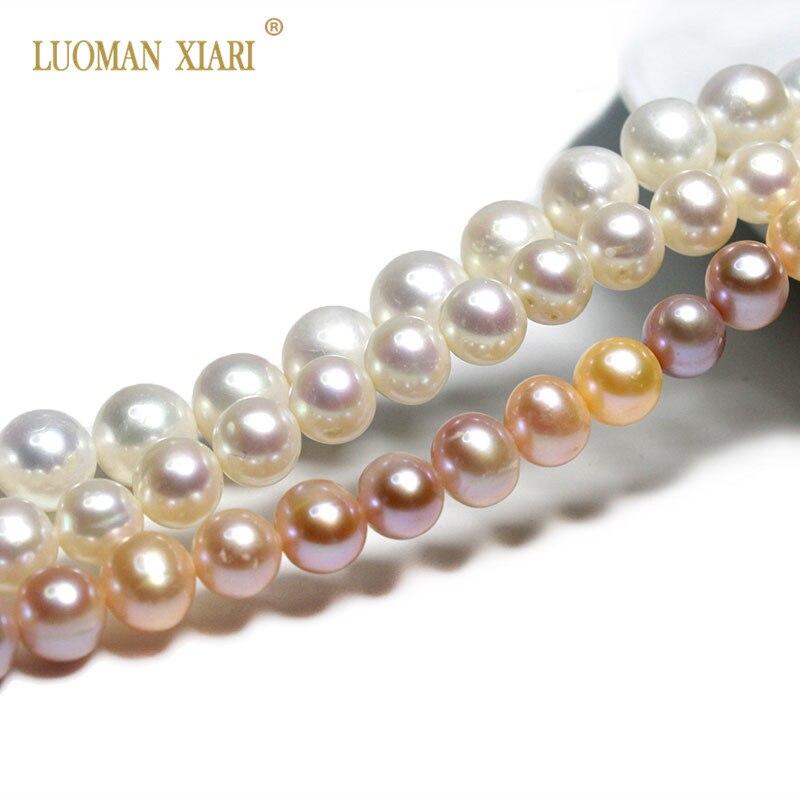 Cuentas de perlas de agua dulce de forma redonda, 100% Natural, AAA, color blanco, fabricación de joyas, pulsera DIY, collar, 7-8, 8-9, 9-10MM
