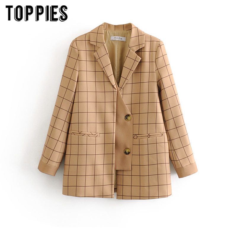 2020 Khaki Plaid Jacket Women Suits Korean Long Sleeve Spliced Blazer Fashion Outwear