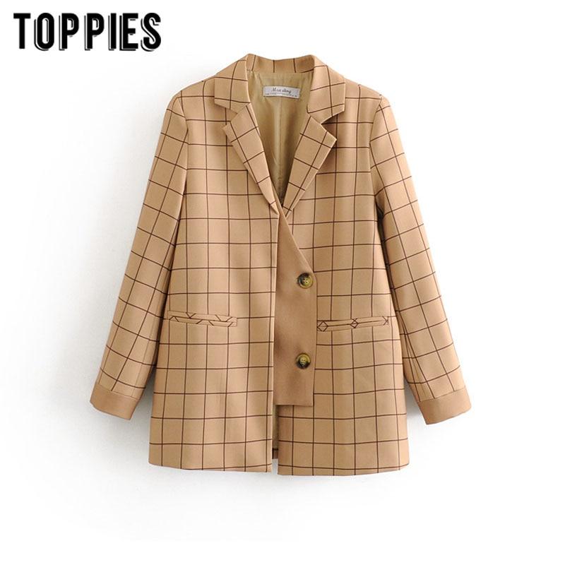 2020 Khaki Plaid Jacket Women Suits Korean Long Sleeve Spliced Blazer Fashion Outwear