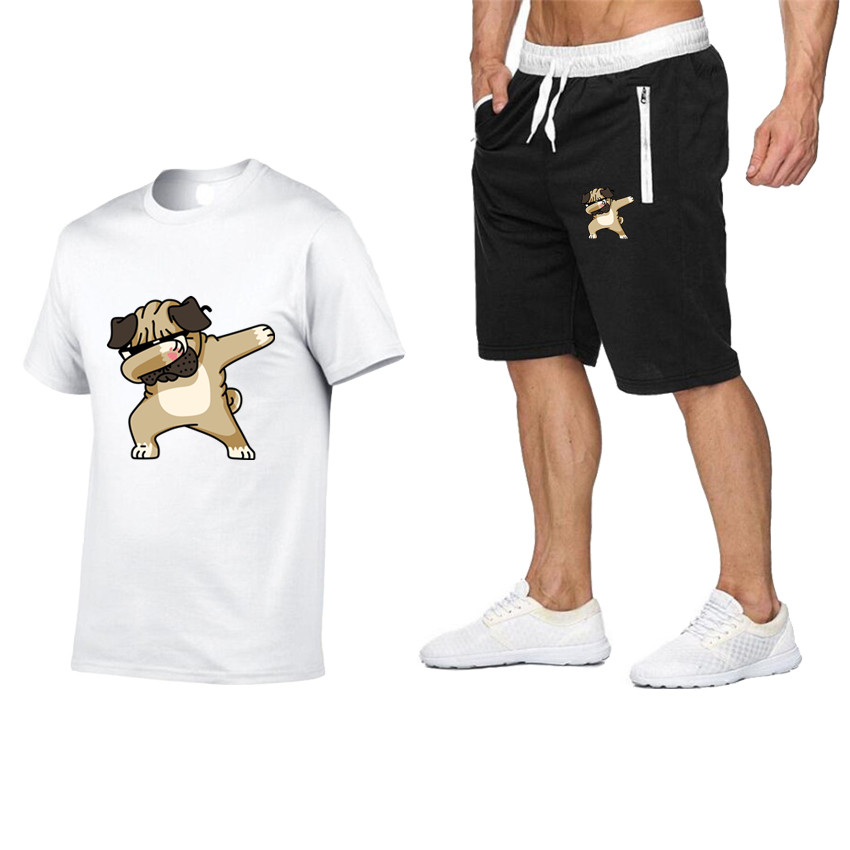 2020 New Pocket Zipper Suit Men's Sportswear Body Summer Printed Men's Shorts + Solid Color T-shirt