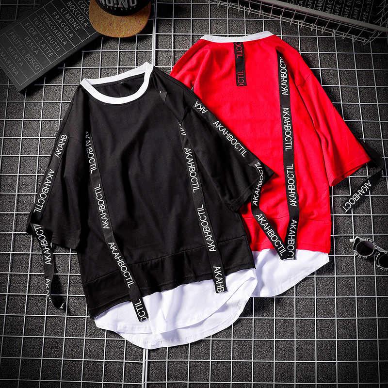 Yaz kore Hip Hop Tshirt Streetwear Casual büyük boy fermuar T-shirt erkek giyim serin gevşek Punk japonya T shirt erkek