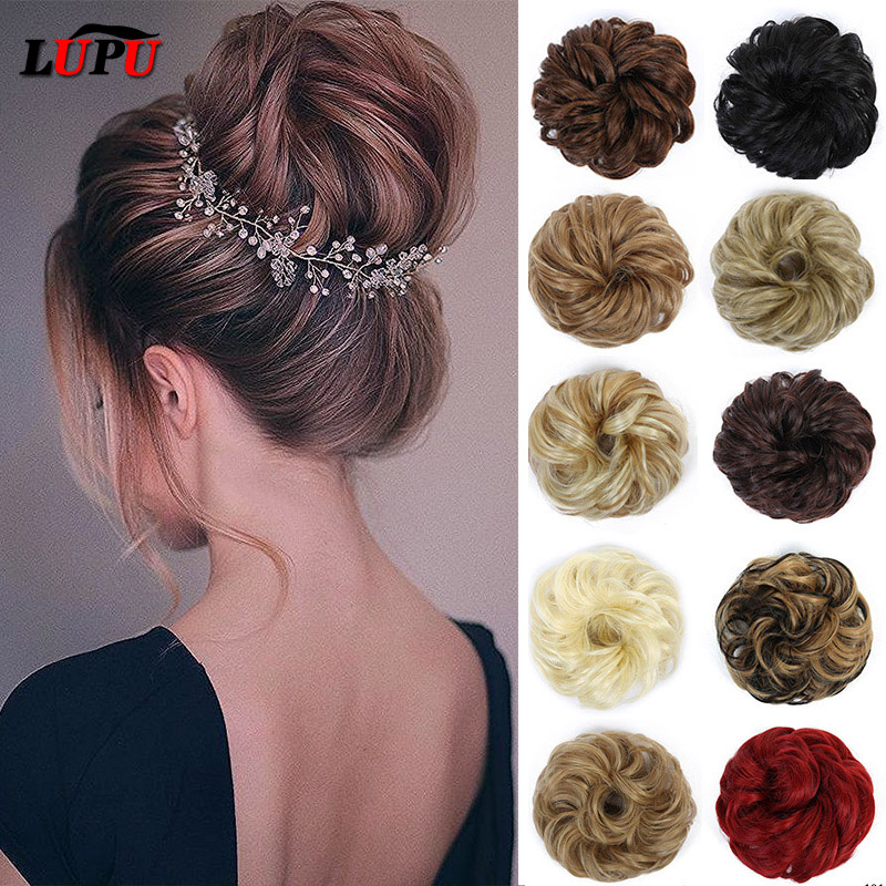 LUPU Black Brown Messy Hair Bun Scrunchie Chignons Synthetic Hair Extension Hairpieces Heat Resistant For Women Hair Accessories