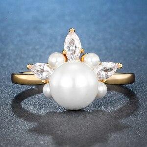 Image 2 - ALLNOEL 925 เงินแท้แหวน Zircon หญิงสีเหลืองทองสี Resizeable ปาร์ตี้อินเทรนด์สตรีเงิน 925