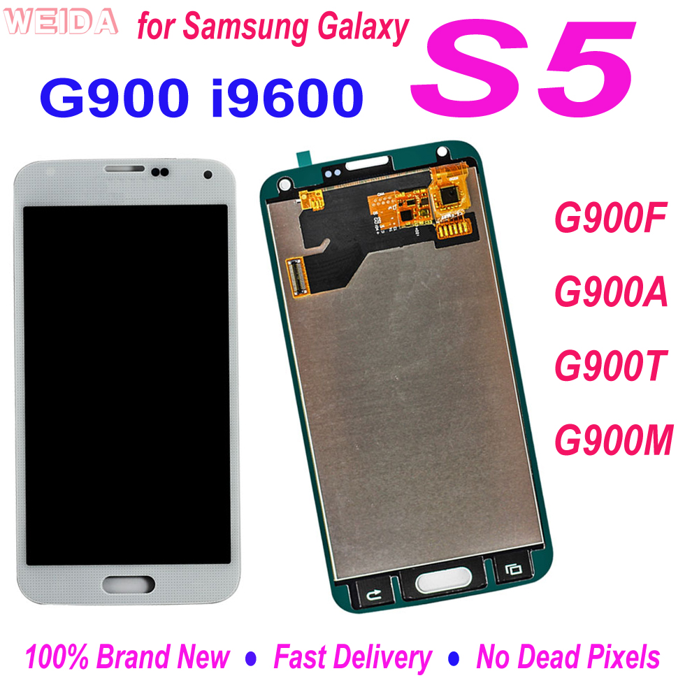 100% Tested LCD For <font><b>Samsung</b></font> Galaxy S5 i9600 G900 <font><b>G900F</b></font> G900A G900T G900M LCD <font><b>Display</b></font> Touch Screen Digitizer Assembly Replacement image