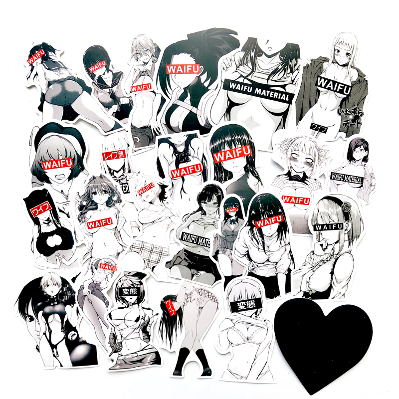 30pcs Waifu Material Vinyl Decal Stickers For Suitcase Laptop Car Truck Anime Hentai Sexy Pinup Mang Girl Waterproof Car Sticker