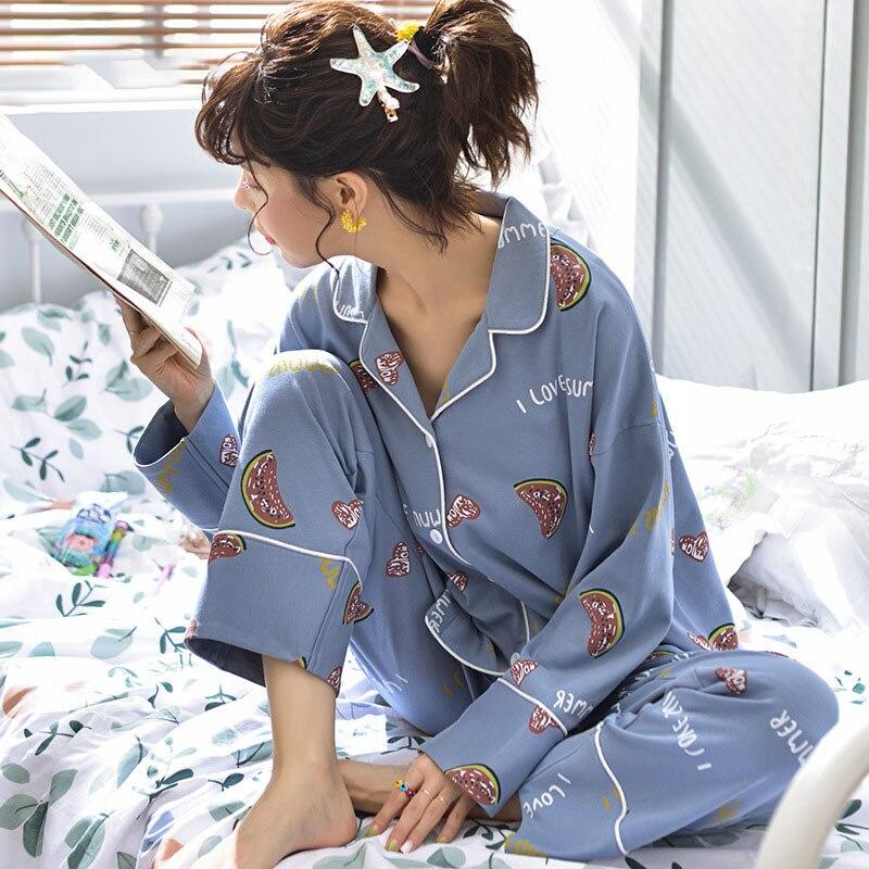 Tonmodi Дамский пижамный комплект весна и осень тонкий японский сладкий мультфильм печати с длинным рукавом милый Кукла Пижама с воротником Повседневная - Цвет: 6941