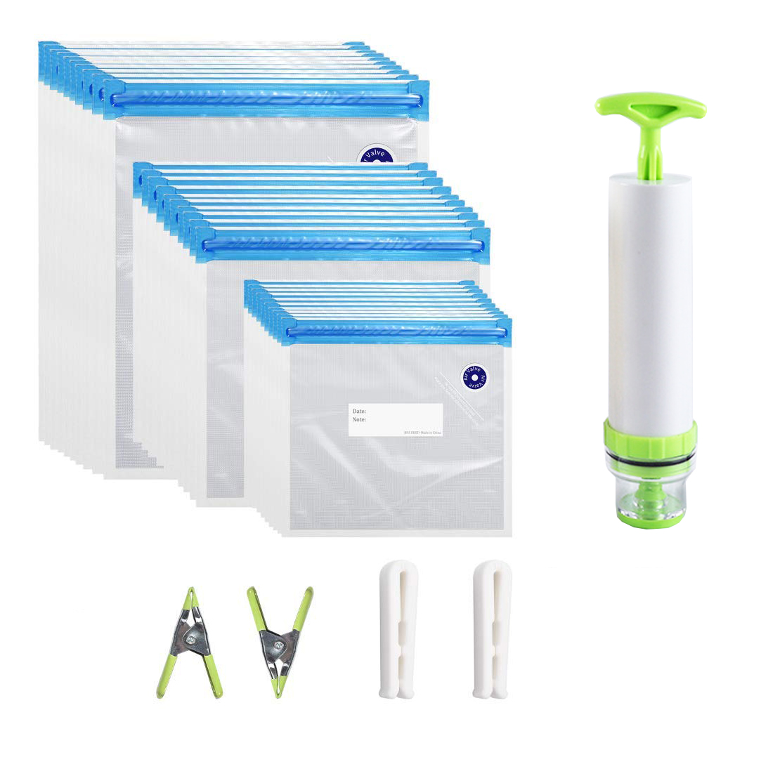 20/17Pcs Bag Kits Reusable Food Storage Vacuum Seal Bags With Hand Pump Bag Sealing Clips Food Wrap For Food Storage Freezing