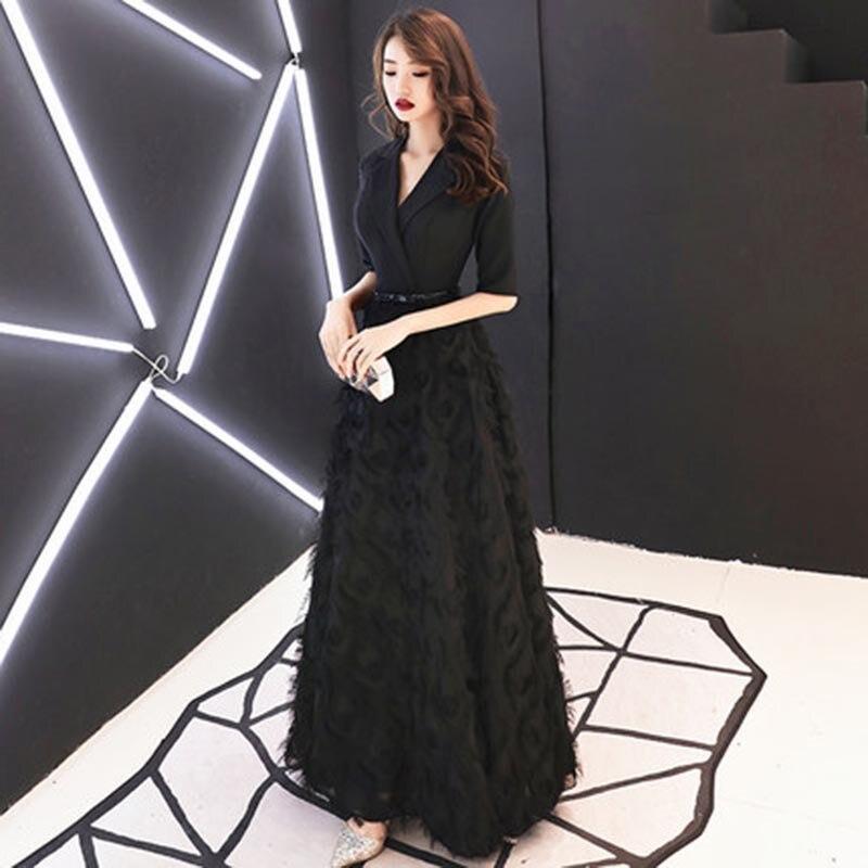 Evneing Dress Formal Dress Elegant V-neck A-line Vintage Feather Party Evening Dresses Robe De Soiree Evening Gown