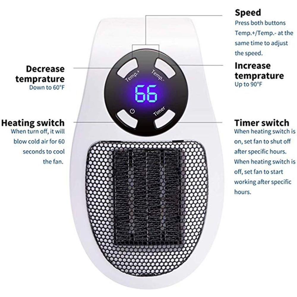 Warm Air Plug-In Type Lcd Timing Small Mini Electric Hot Air Blower Office Home Heater Household Heater