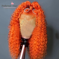 Preferred Kinky Curly Human Hair Wig Orange Baby Blue Lime Green 180 Density Lace Front Wig Brazilian Remy Transparent Lace Wigs