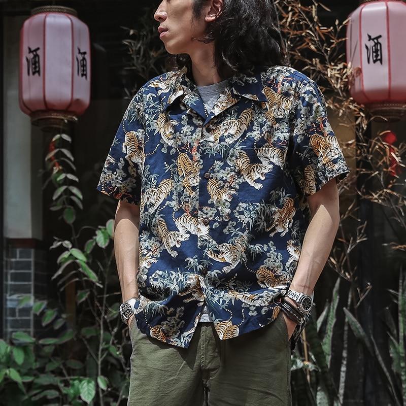 Bronson Japanese Tigers Aloha Shirt Vintage Hawaiian Short Sleeve Camp Shirts