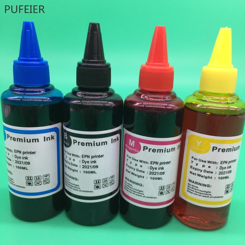 100ML x 4PCS T1281-T1284 Dye Based Ink For Epson S22 SX125 SX420W SX425W SX235W SX130 SX435W SX230 SX440W BX305F BX305F Printer