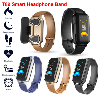 New T89 TWS Wireless Smart Binaural Bluetooth Headphone Earphone Fitness Band Heart Rate Monitor Sports Record Message Reminder