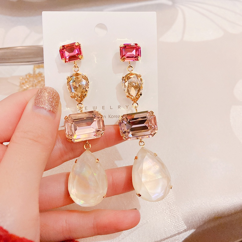 MENGJIQIAO 2020 New Luxury Square Water Drop Colorful Crystal Statement Dangle Earrings For Women Fashion Party Brincos Jewelry