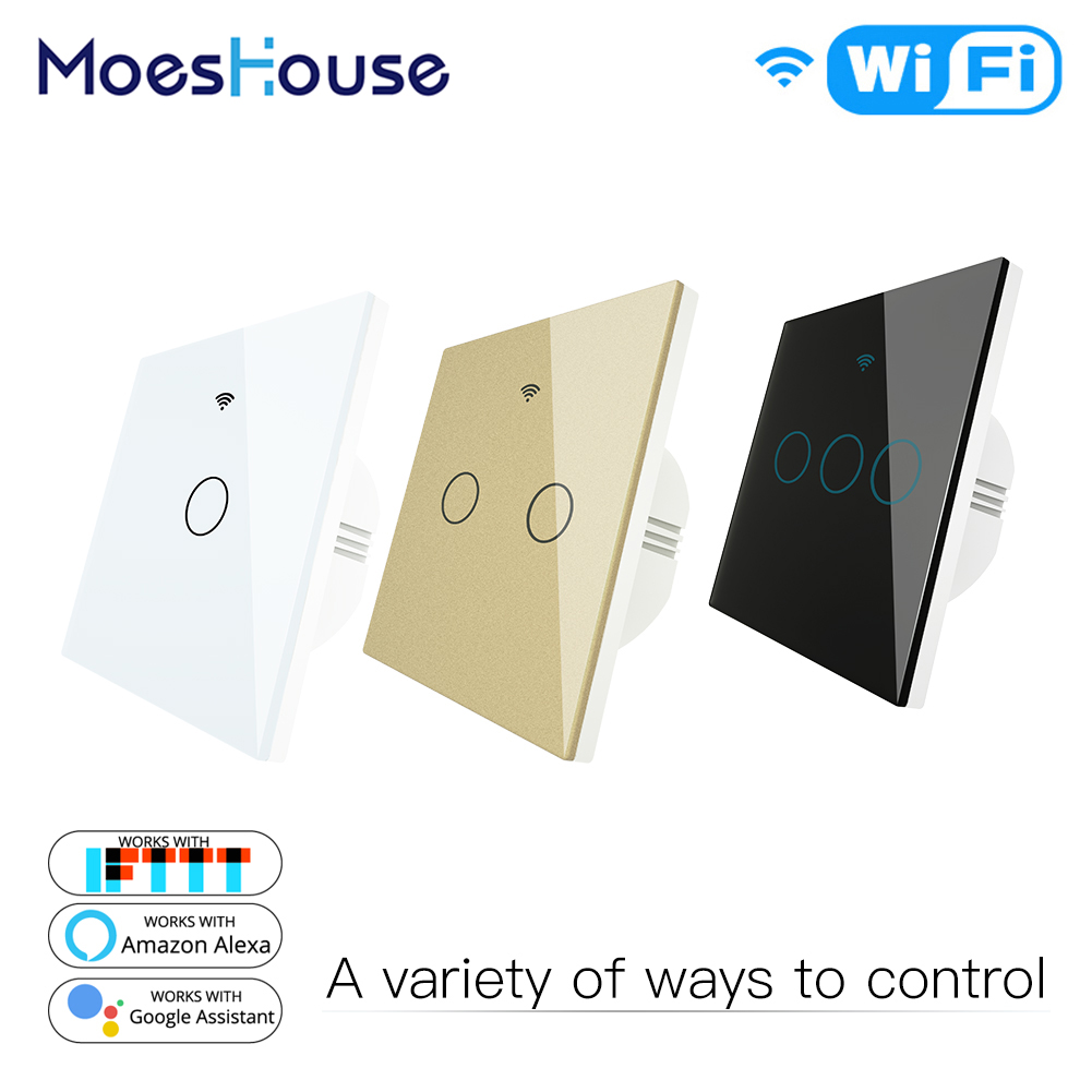 WiFi Smart Switch Remote Control Glass Panel Light Switch Works With Alexa Echo Google Home RF433 EU Type Touch 1/2/3 Gang