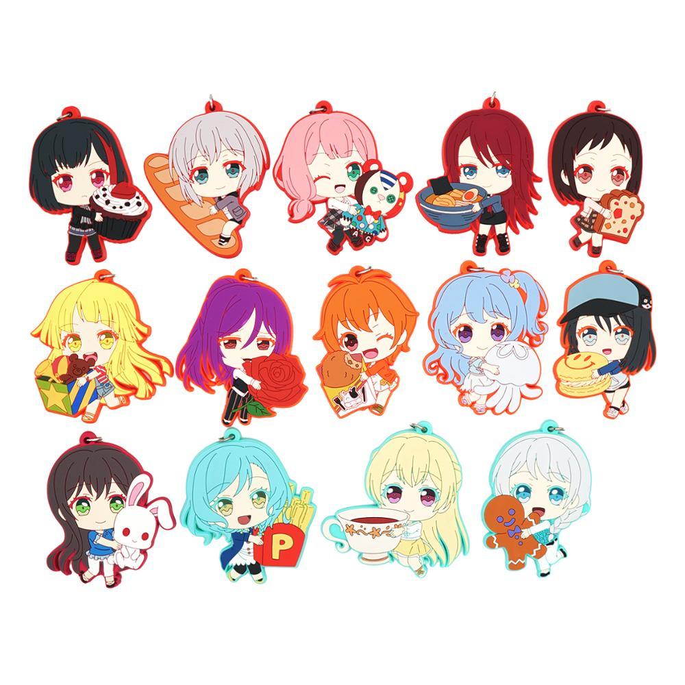 Bang Dream! HHW Afterglow P*P Anime Game Hikawa Hina Tsurumaki Kokoro Misaki Kanon Seta Kaoru Aoba Moca Rubber Keychain