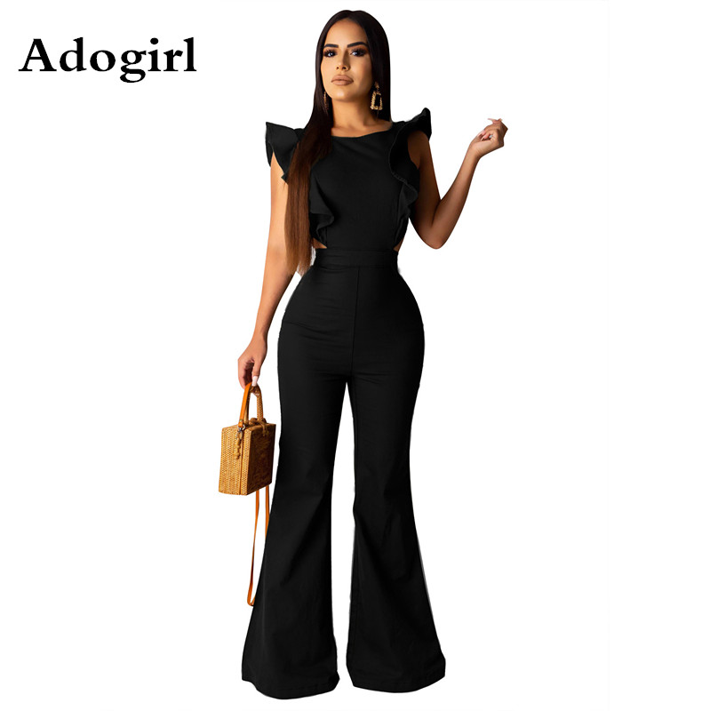 Adogirl Black Solid Sleeveless Ruffles Splicing Wide Leg Jumpsuit Women Sexy Open Back Zipper Night Club Party Long Jumpsuit