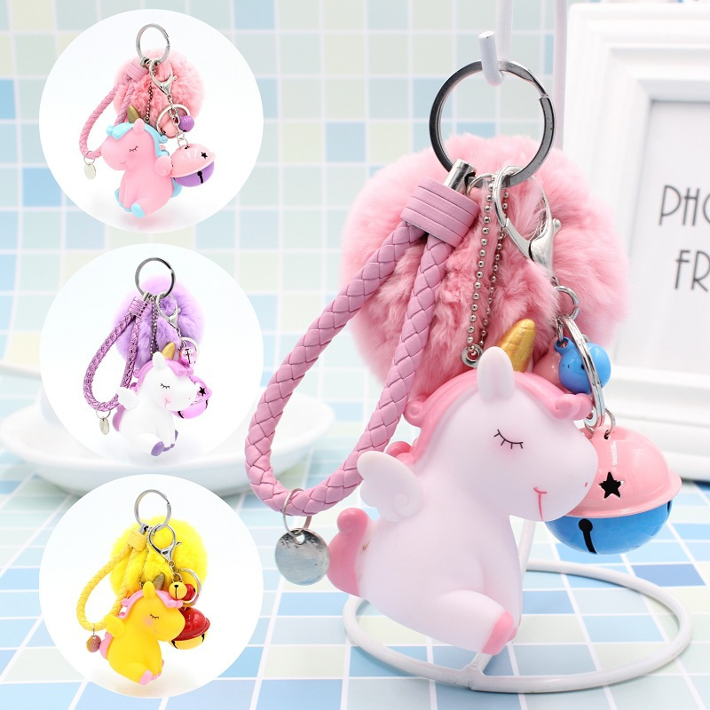Cute Plush <font><b>Pompom</b></font> Unicorn Keychain Multicolor Unicorn Plush Ball Women's Bag <font><b>Key</b></font> <font><b>Ring</b></font> Jewelry Car Bell <font><b>Key</b></font> <font><b>Ring</b></font> Keychain Gift image