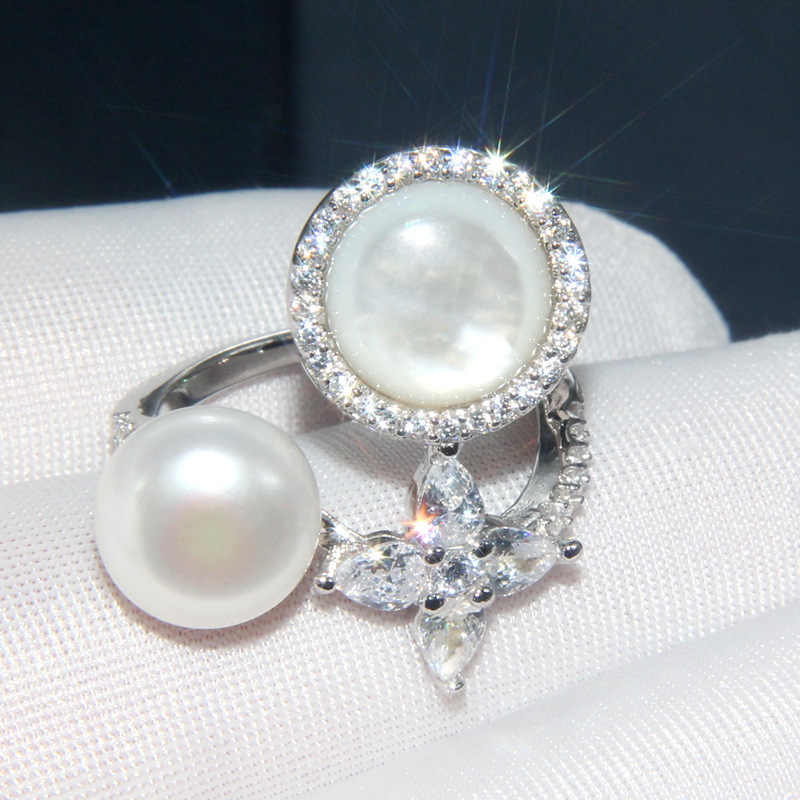 Baoyocn, роскошное Брендовое Настоящее 925 пробы Серебряное кольцо с кристаллами, цирконием, перламутром, кольцо на палец в форме звезды, женские модные вечерние ювелирные изделия