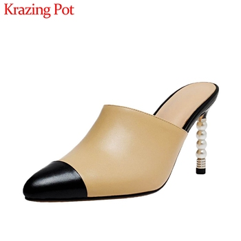Krazing pot mixed color full grain leather pointed toe super high heels pearl slip on mules shoes wome fashion women pumps L12