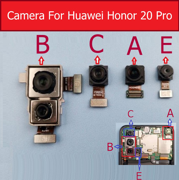 Front Rear Camera For Huawei Honor 20 Pro YAL-L41 Main Back Wide Angle Wideangle Camera With Flex Cable Replacement Parts