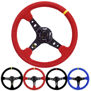 Unversal 14inch 350mm Car Racing Steering Wheel Deep Corn Drifting Suede Leather Slip-Resistant Sport Steering Wheel