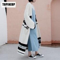 Frauen Kleidung für AutumnKnitted Pullover Outwear Dicke Warme lose faux nerz samt lange gestreiften pullover strickjacke mantel