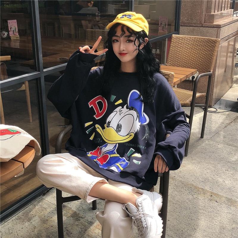 Oversize Winter Women Sweatshirts Hoodies Cartoon Casual Pullover Cute Jumpers Top Long Sleeve O-Neck Fleece Tops Donald Duck