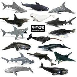 Океана мир морской рыбы миниатюрный морских животных модель горбатый кит акула-молот Дельфин мини-фигурка Экшн фигурки игрушки
