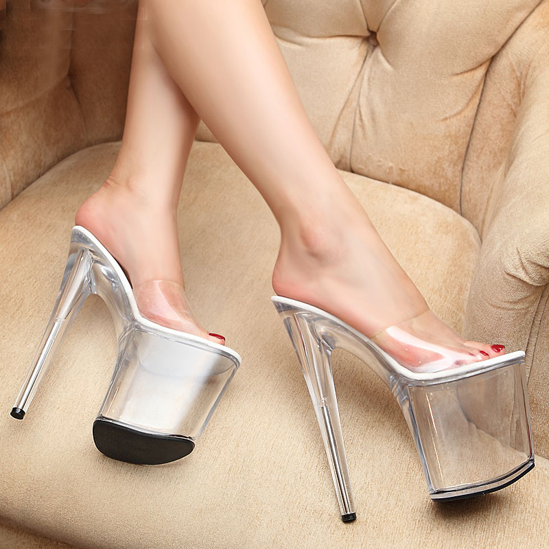 20cm Super <font><b>High</b></font> <font><b>Heel</b></font> <font><b>Platform</b></font> Women <font><b>Sandals</b></font> New <font><b>Sexy</b></font> Nightclub Party Woman <font><b>High</b></font> <font><b>Heels</b></font> Slides Summer Pole dance Crystal Shoes image