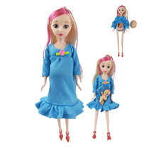 1sets DIY Colorful hair Real pregnant mom doll have a baby in her tummy for Small cart boy girl dolls child toy gift gonlei mom baby strollerl pregnant doll suits mom doll have a baby in her tummy for barbi doll family for barbe girls gift toy