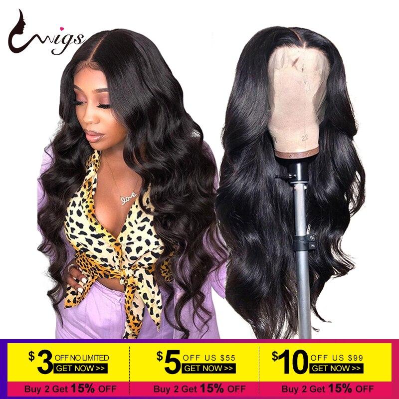 Perruques de cheveux humains avant de lacet de la perruque 13x4 de vague de corps péruvien d'uwig pré plumées 180 perruques de cheveux de Remy de densité pour des femmes noires 8-26 inch