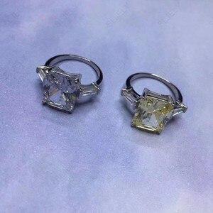 Image 3 - Slzely anillo doble rectangular para mujer, Circonia cúbica grande, Plata de Ley 925 auténtica, amarillo, blanco, joyería para fiesta de compromiso