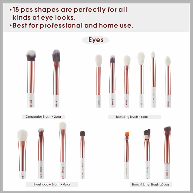 Jessup Professional Makeup Brushes Set 15pcs Pearl White/Rose Gold Eye Shadow Make up Brush Eye Liner Natural-synthetic hair 3