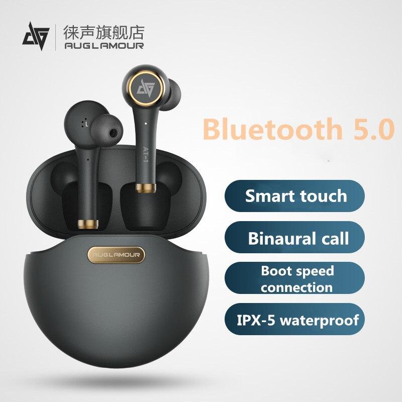 Auglamour at-1 fones de ouvido sem fio bluetooth fones de ouvido fone de ouvido de toque inteligente com microfone com cancelamento de ruído estilo da orelha