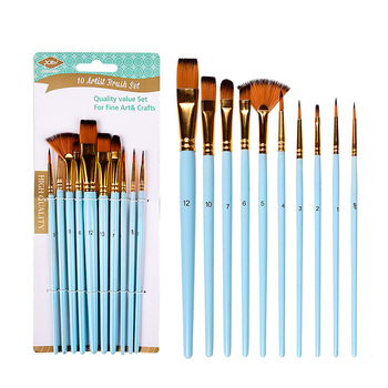 10 Pcs/Set Nylon Hair Artist Paint Brush Professional Watercolor Acrylic Wooden Handle Painting Brushes Art Supplies Stationery - discount item  30% OFF Art Supplies