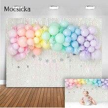 Rainbow Balloons Cake Smash Birthday Photo Background Sliver glitter newborn kids Twinkle Twinkle Little Star portrait Backdrop