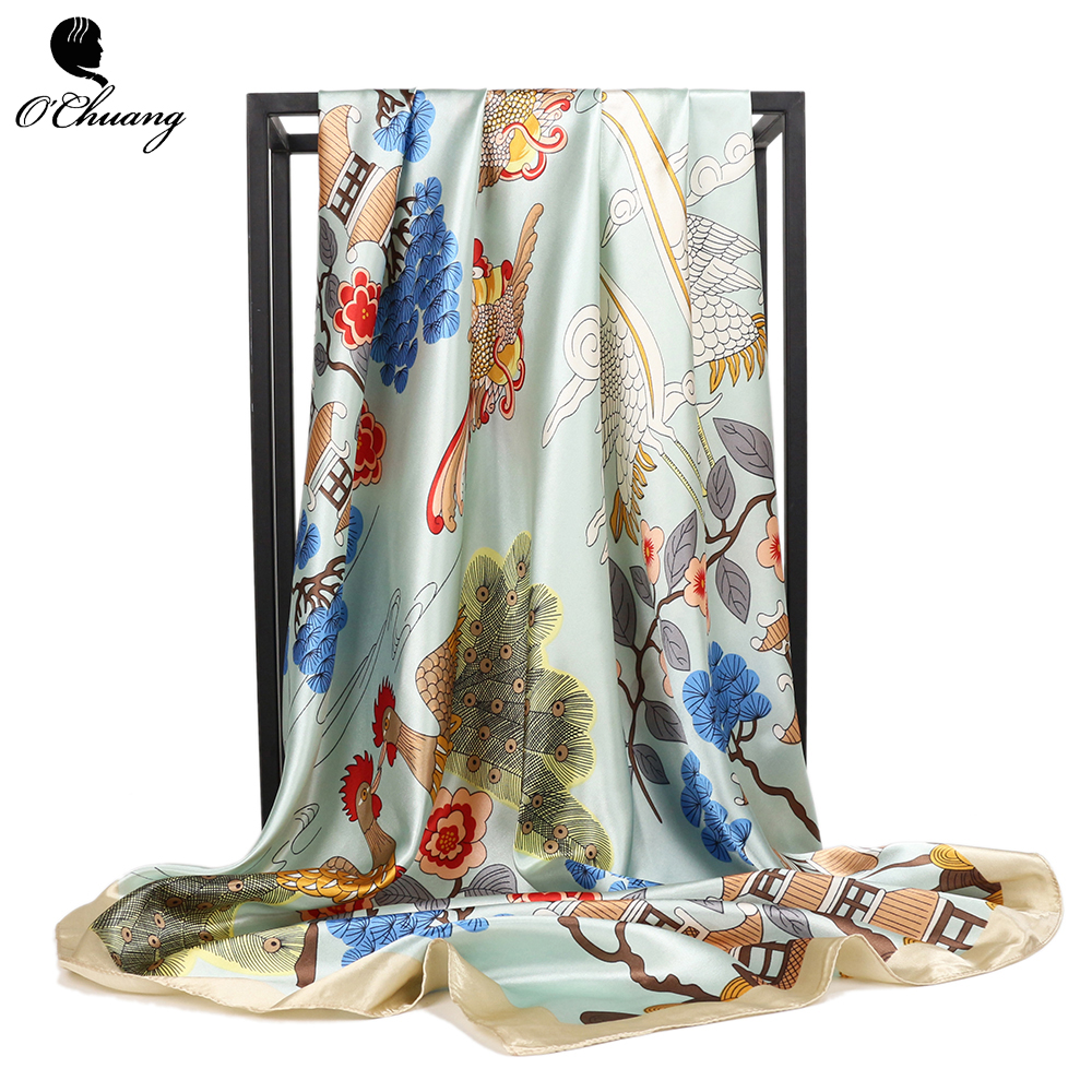Fashion Chinese Style Scarf Women Female 90*90cm Red Silk Satin Scarves Luxury Brand Square Shawl Head Scarfs Foulard Bandanna