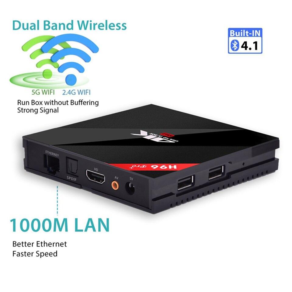 H96 Pro + 3G 16G 2.4G 5GHz Wifi 4K boîte Amlogic S912 haut décodeur Smart tv box android 8.1 Android tv box H96 plus Vs X96 3
