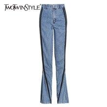 Zipper-Jeans Clothing Denim Trousers Wide-Leg Patchwork Streetwear High-Waist Casual