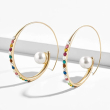 Bohemian Gold Ear Cuff Pearl Circle Clip Earrings for Women Girls Geometric Statement Hoop Earring Fashion Party Wedding Jewelry