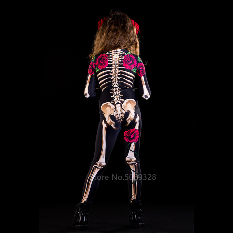 H2f15707e34b44886b05bc83f6aa56cb0d - Skeleton Rose Sexy Women Halloween Devil Ghost Jumpsuit Party Carnival Performance Scary Costume Kids Baby Girl Day Of The Dead