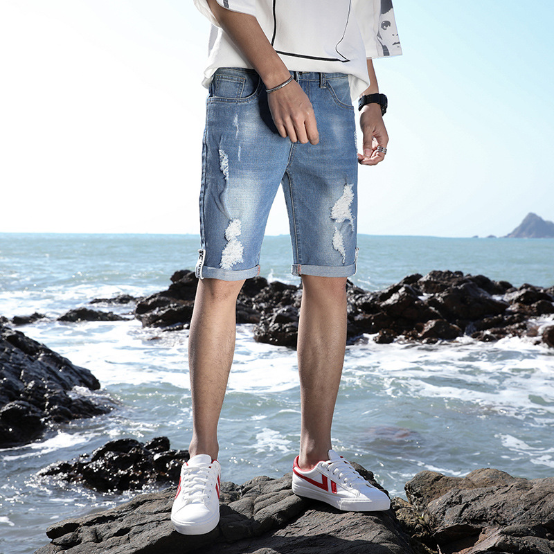 Summer Thin Section With Holes Denim Shorts Male Fifth Pants Straight-Cut Elasticity Men In Pants 5 Breeches Summer Tian Chao