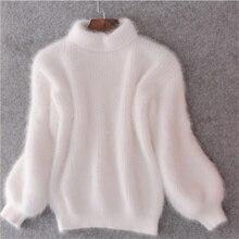 Winter Turtleneck Fluffy Women's Sweater Pullovers Lantern Sleeve Thicken Warm F