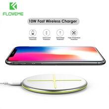 FLOVEME 10W hızlı kablosuz şarj için iPhone 12 11 8 artı XR için hızlı şarj kablosuz şarj cihazı ped için akıllı telefon