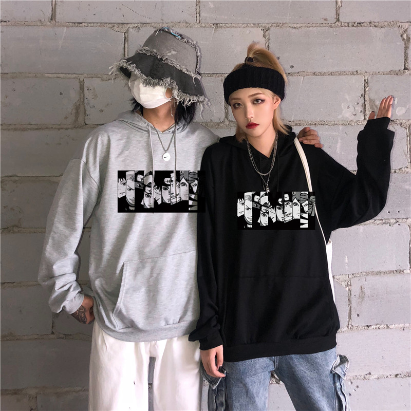 2019 harajuku Pockets 100% Cotton Naruto Anime Print Men hoodies Long Sleeve Autumn sweatshirt Black hip hop japanese streetwear
