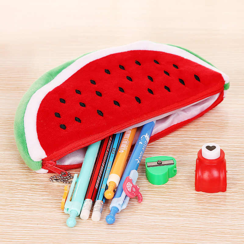 Cute Big Watermelon Bag Fashion Watermelon Storage Pen Bag Cute Plush Stationery Bag Pencil Case pouch school purse Gift