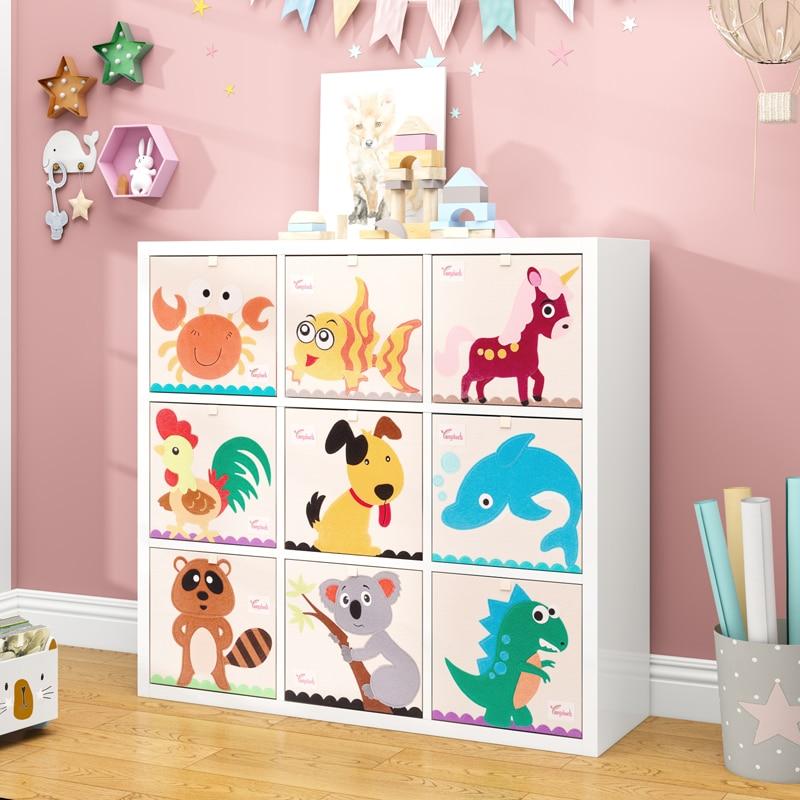 Cube Kindergarten Children Storage Box Cartoon Animal Folding Storage Bins Wardrobe Drawer Clothes Basket Kids Toys Organizer