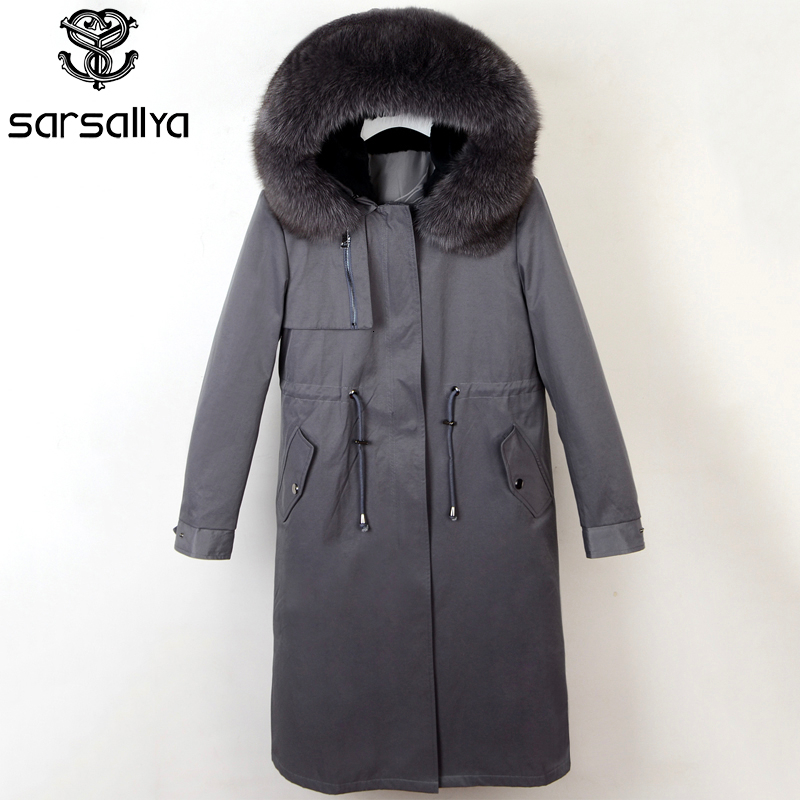Parka Real Fur Women Winter Coat Long Warm Jacket Hood Female 2019 New Natural Fur Fox Parkas Casual Solid Winter Clothes Ladies